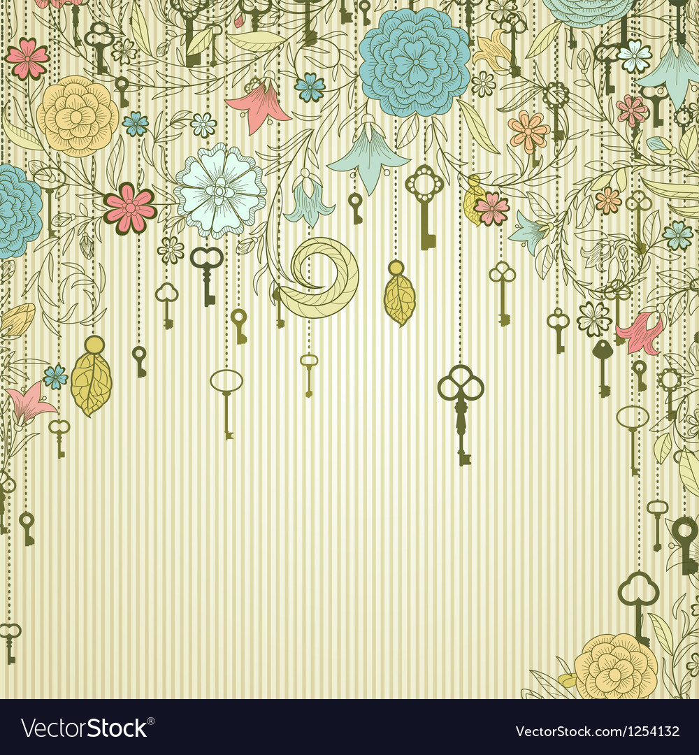 Vintage background with doodle flowers and keys vector