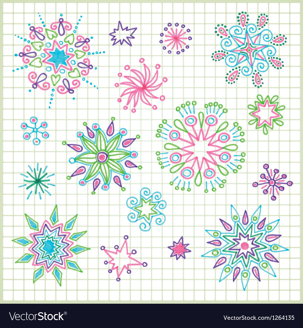 Hand draw doodle star element set vector