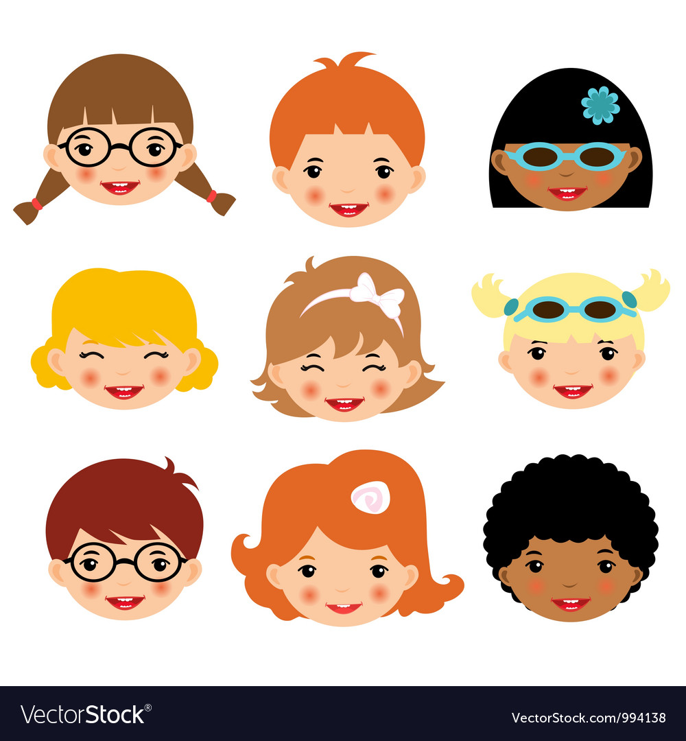 Kids faces vector