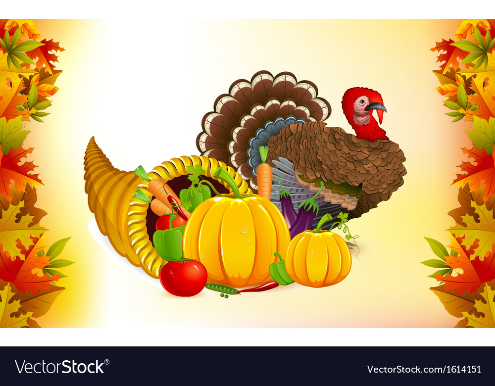 Thanksgiving cornucopia with turkey vector
