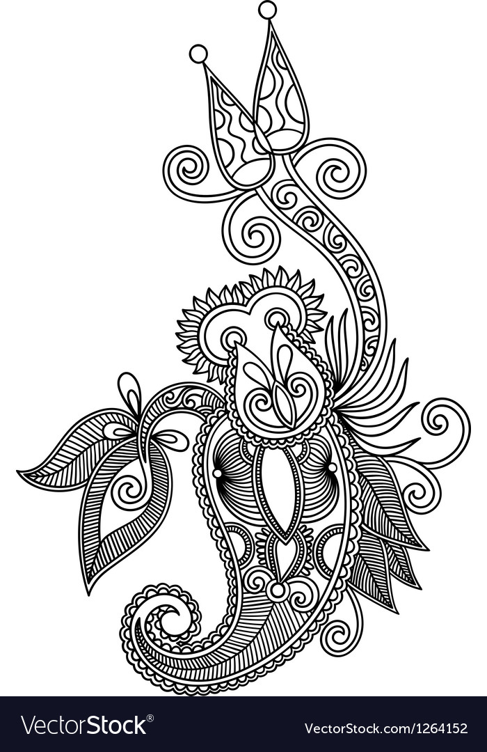 Hand draw line art ornate flower design vector