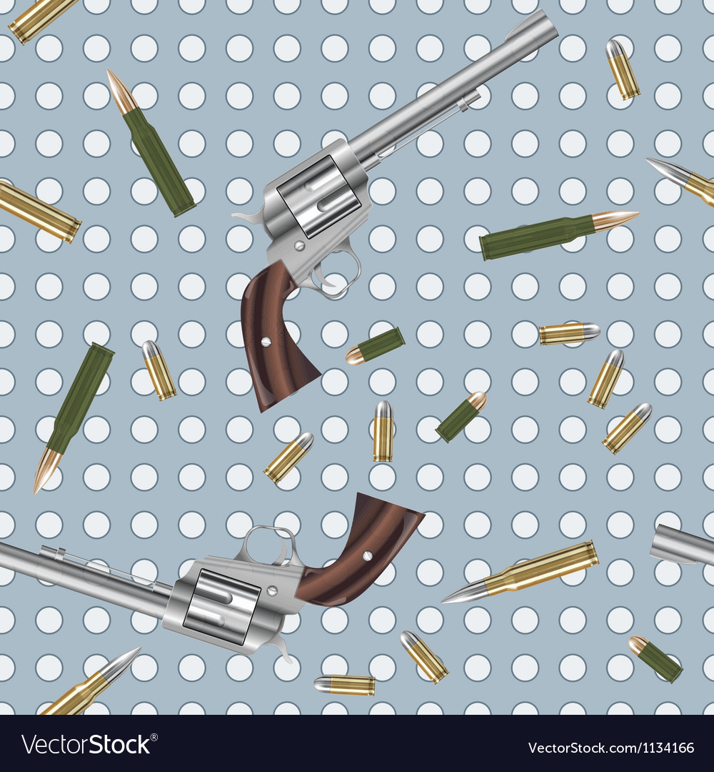 Seamless pattern with guns and bullets vector