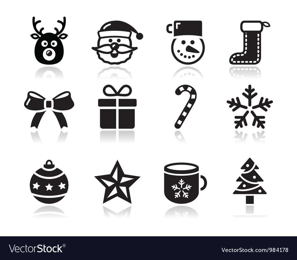 Christmas black icons with shadow set  santa vector