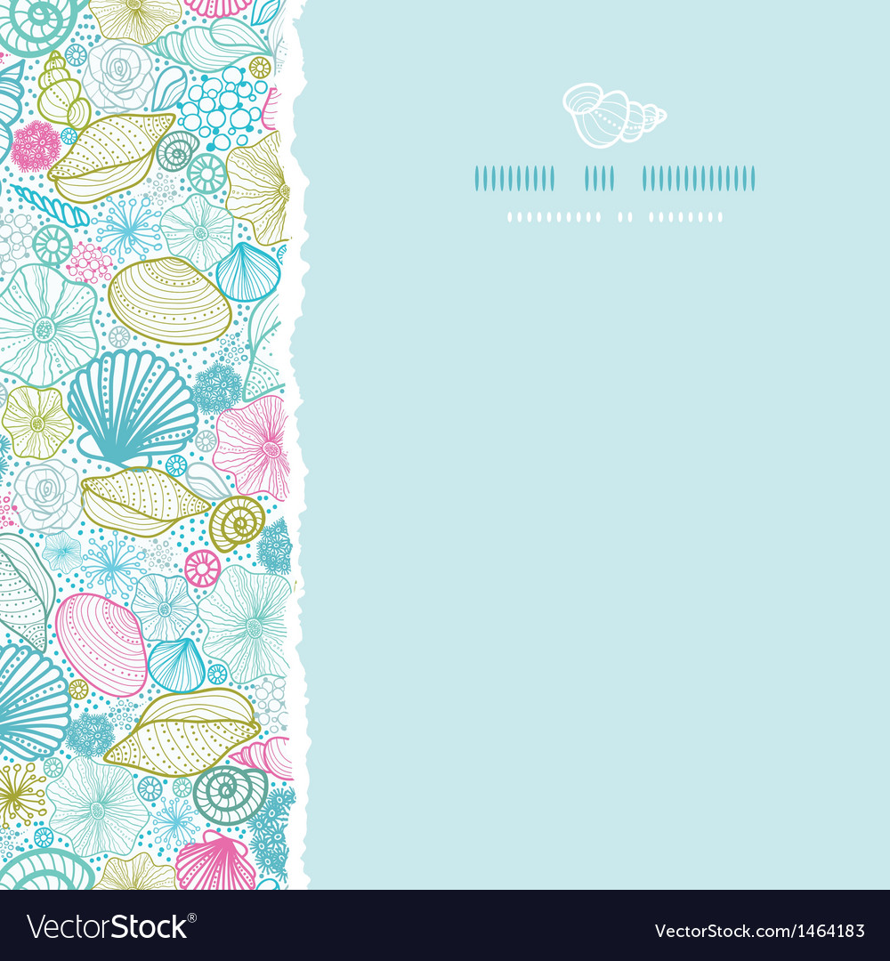 Seashells line art square torn seamless pattern vector