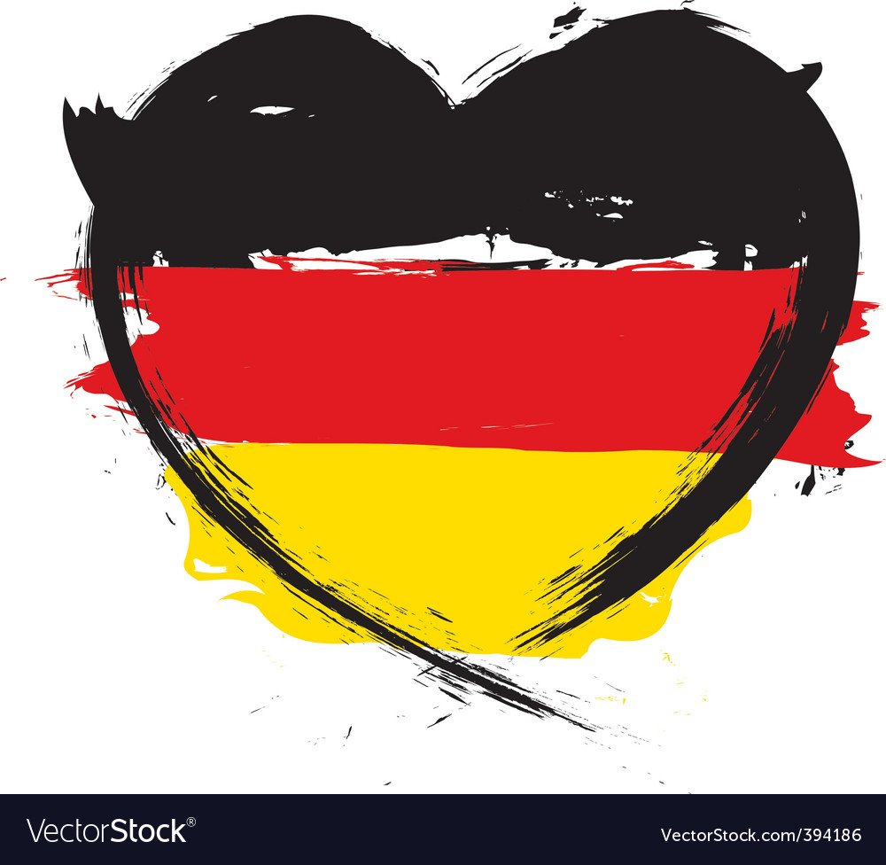 German heart shape flag vector