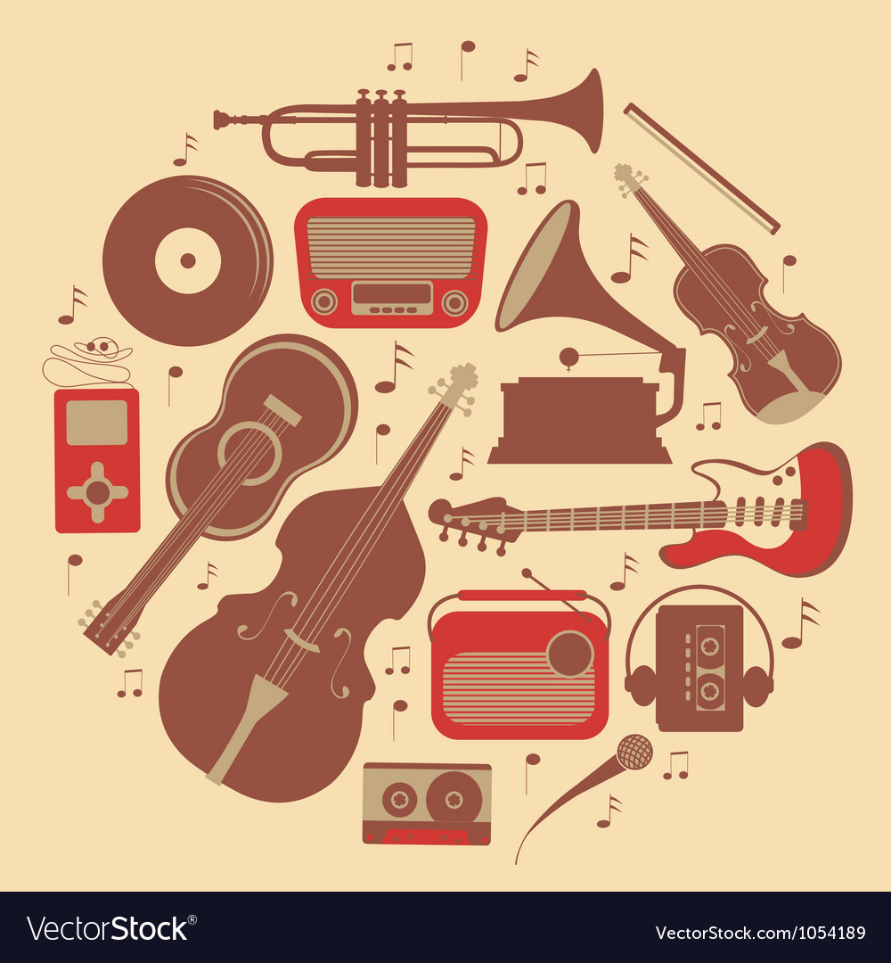 Round music composition vector