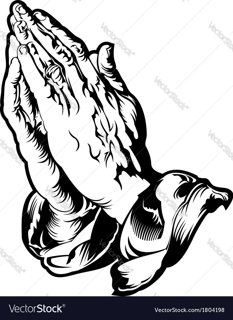 Praying hands tattoo vector