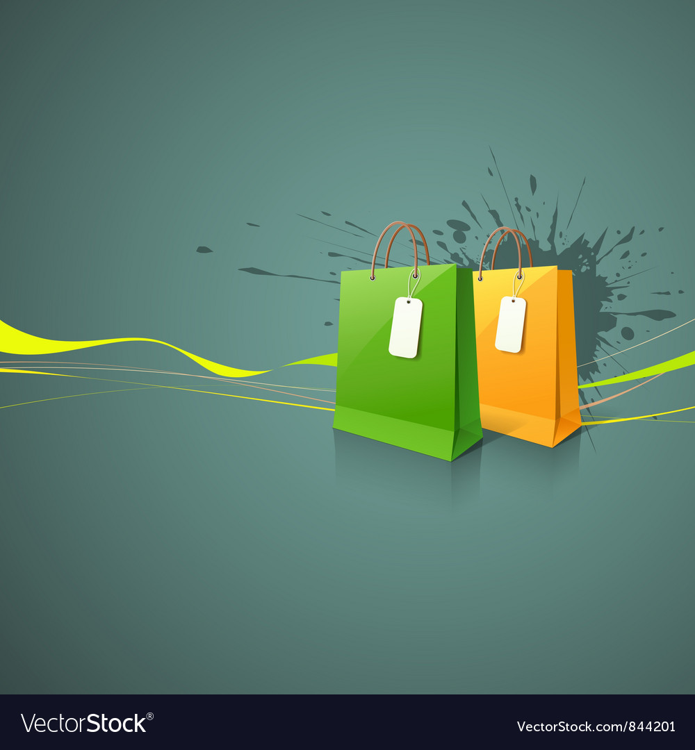 Shopping paper bag green and yellow vector