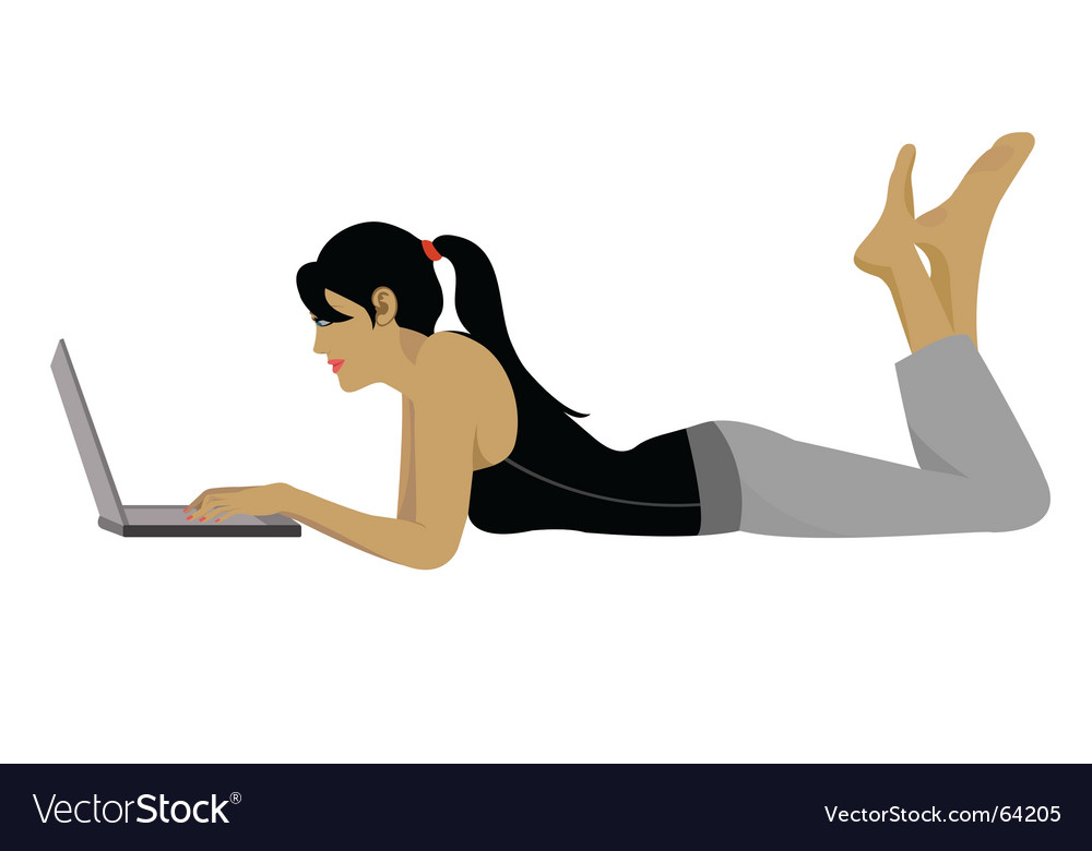 Girl laptop vector