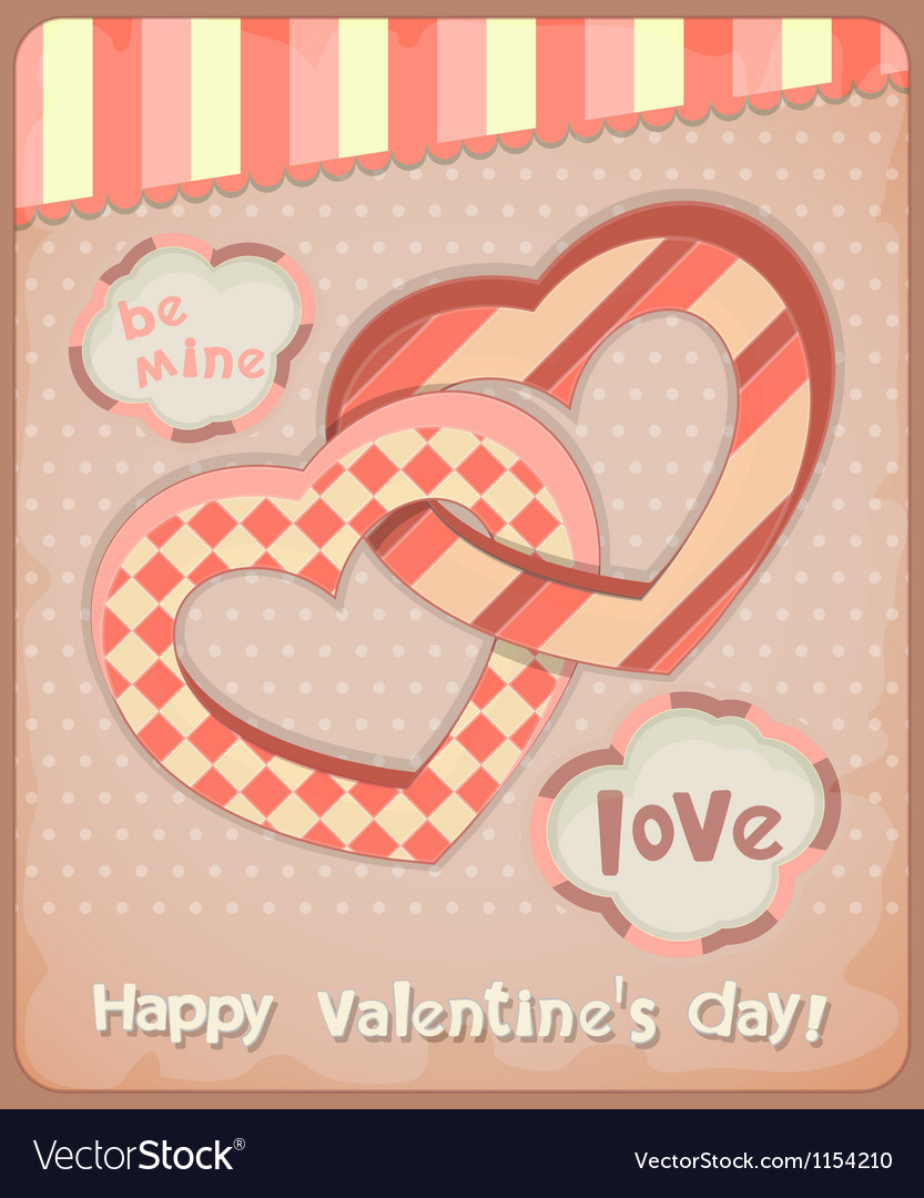 Retro postcard to the valentines day vector