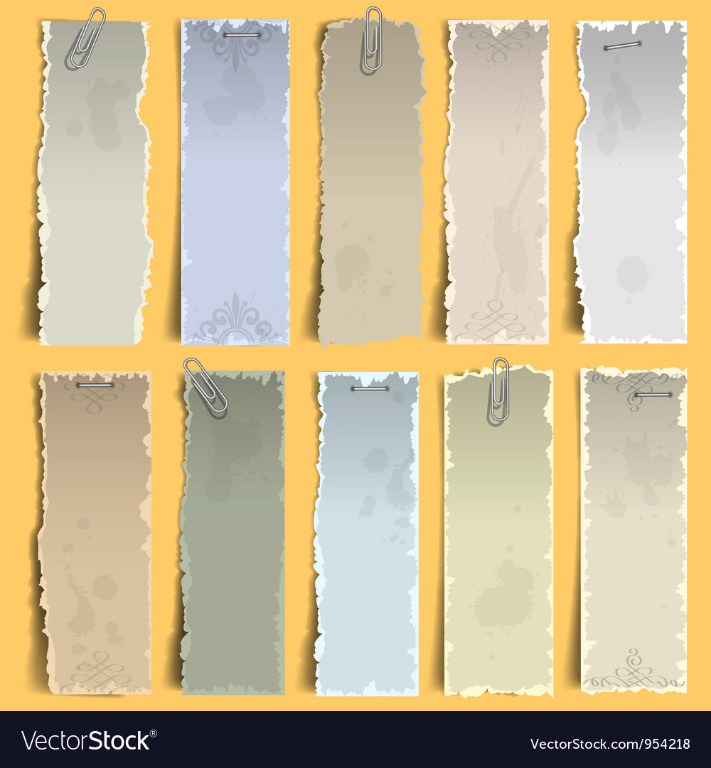Vertical old note papers vector