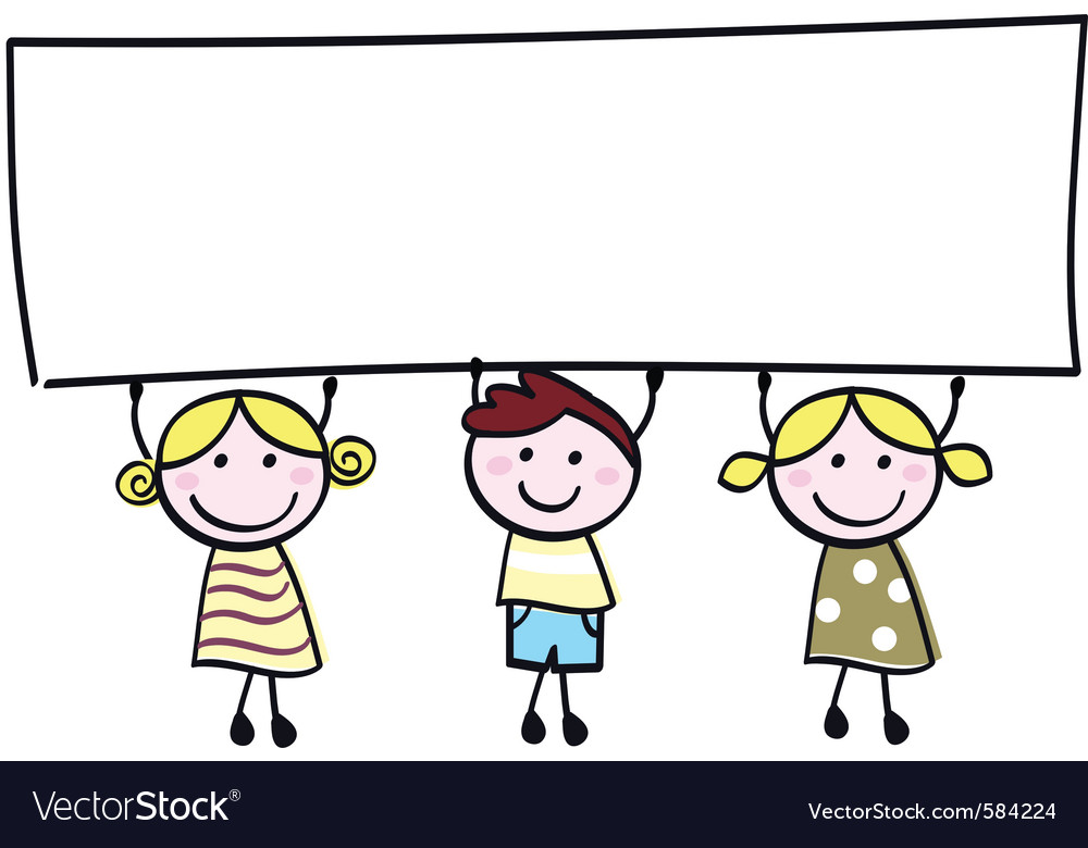 Children holding banner vector