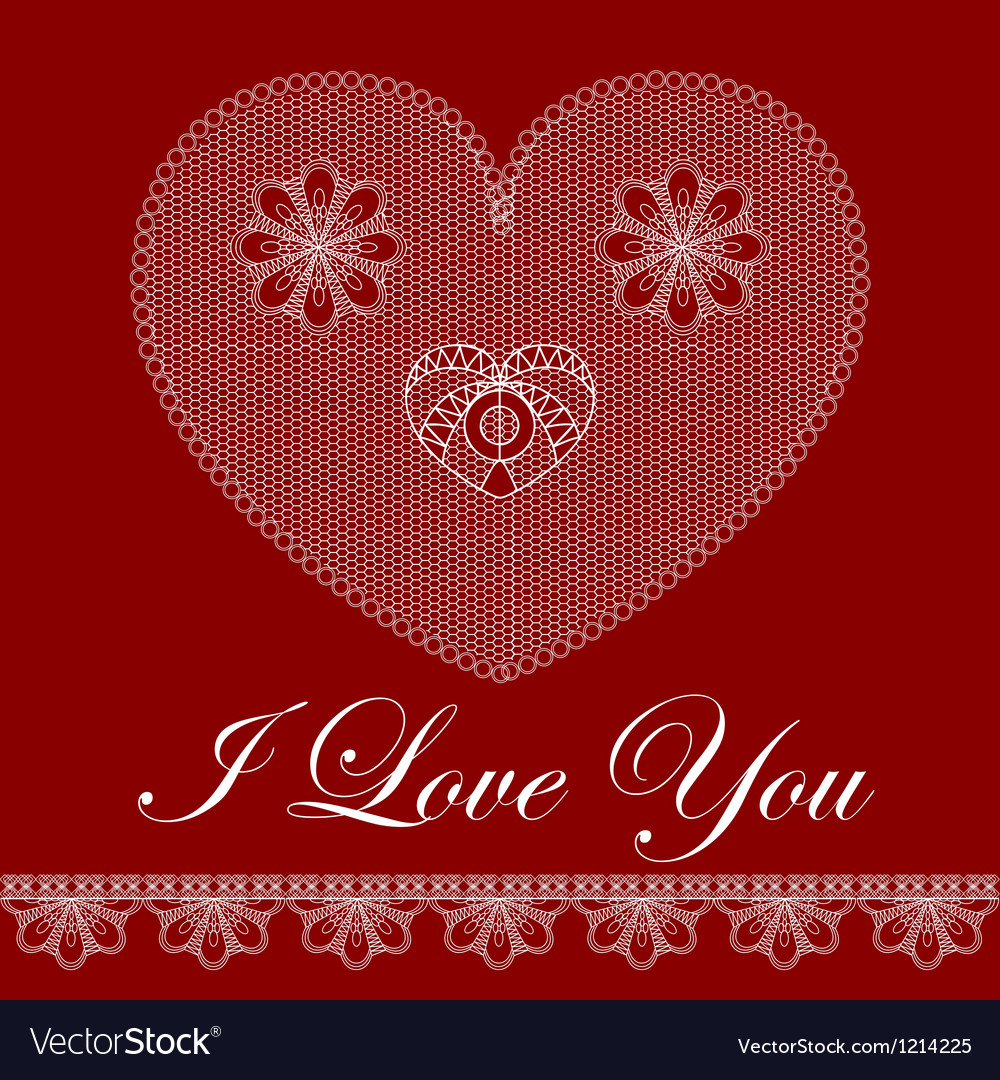 Valentine card with lace heart vector