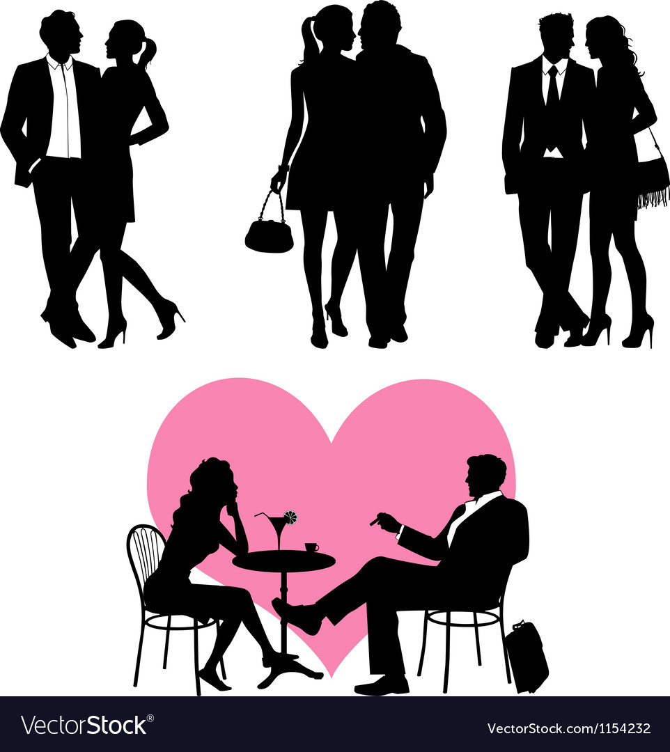 Several people  silhouettes vector