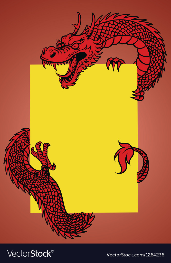 Oriental dragon with text space vector
