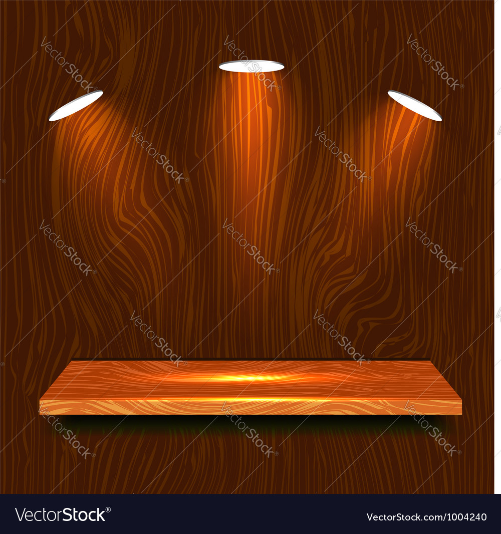 Wooden shelf vector