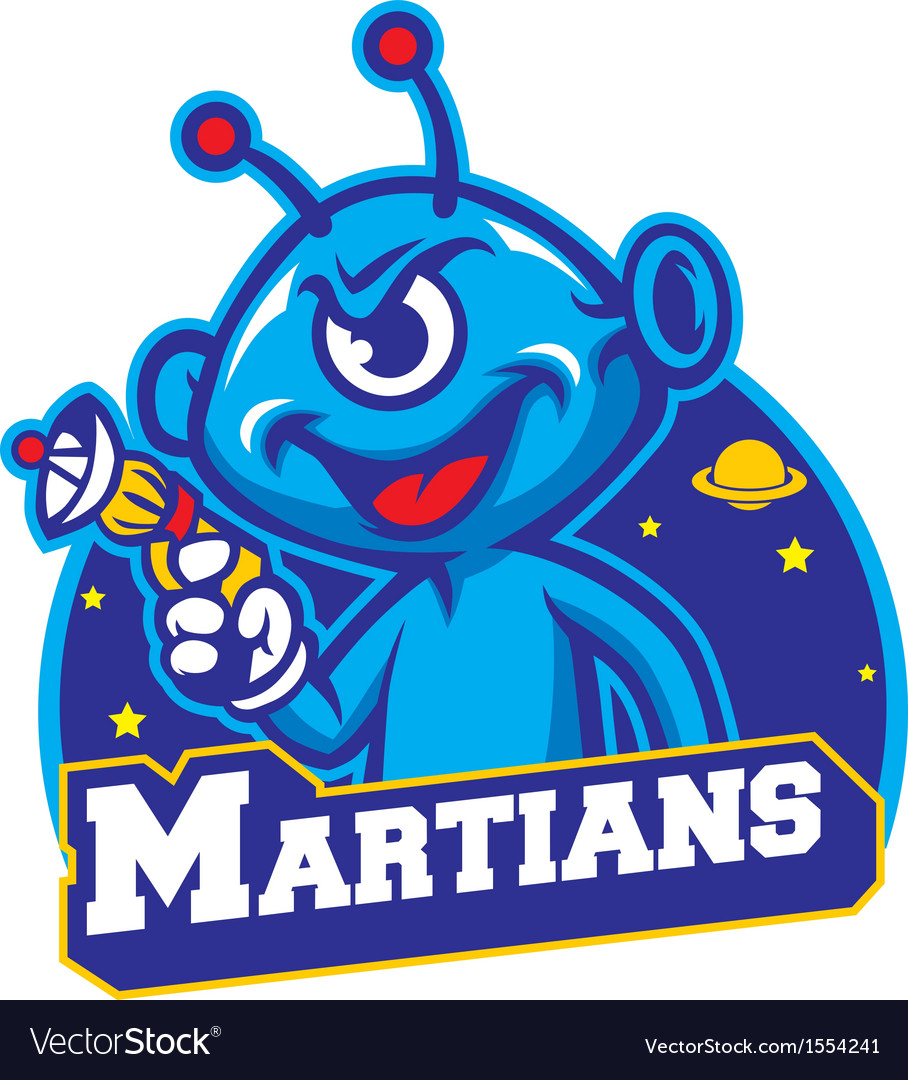 Blue martian hold a laser gun vector