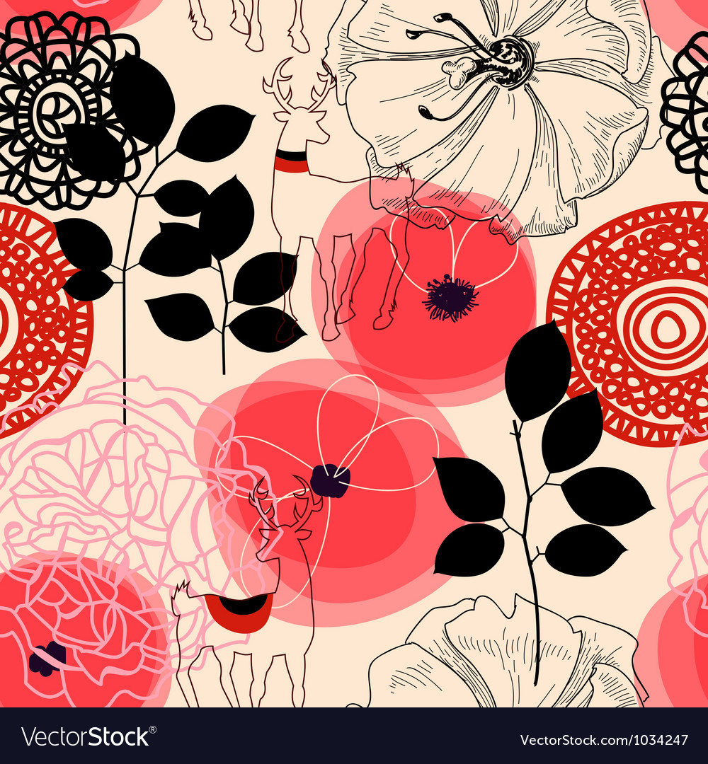 Flowers and deers seamless pattern vector