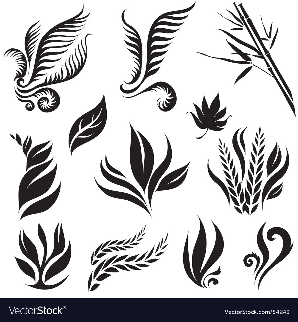Collection Of Six Environmental Leaf Designs With Shadow Royalty ...