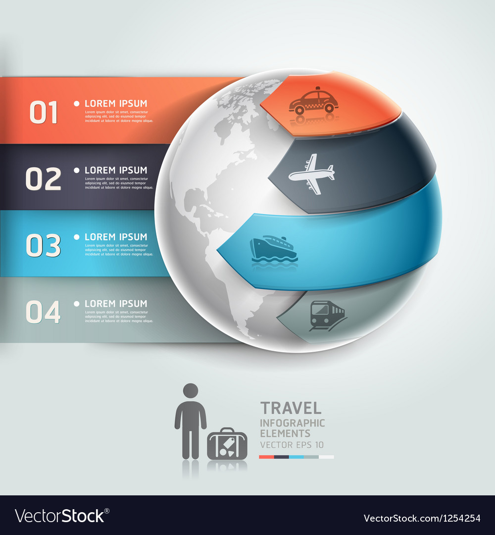 Abstract globe infographics travel transportation vector