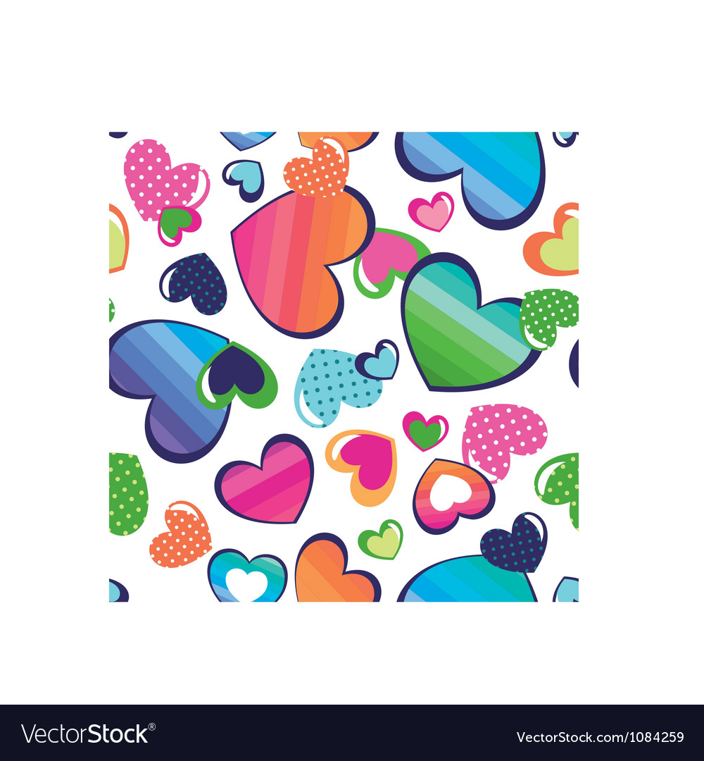 Color hearts seamless background vector