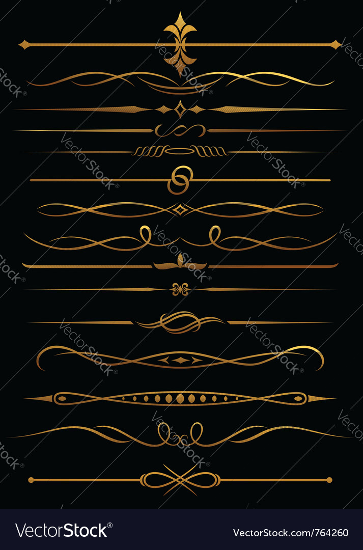 Golden borders and dividers vector