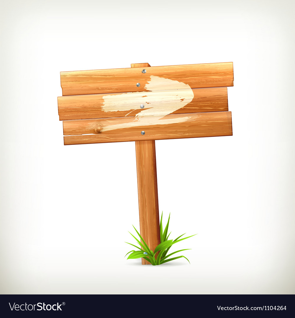 Wooden sign arrow vector