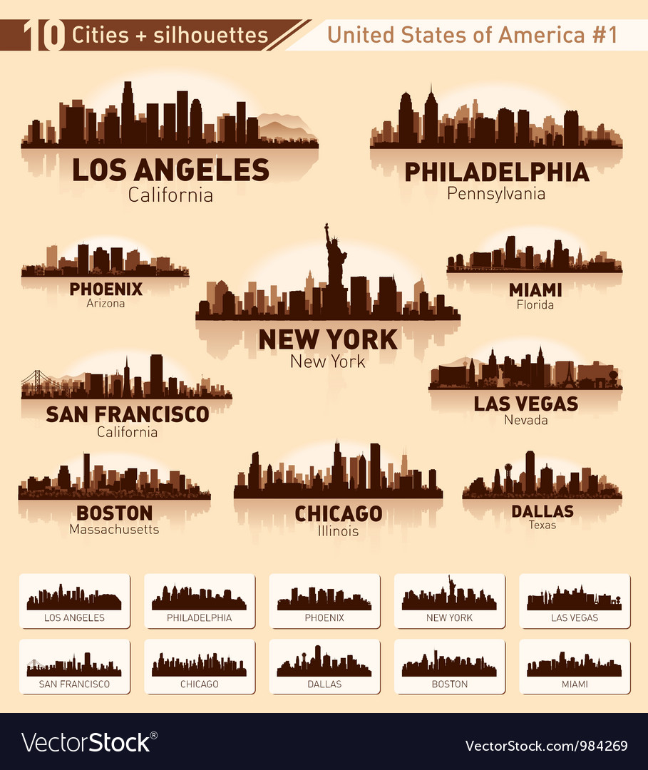 Skyline city set 10 cities of usa  1 vector