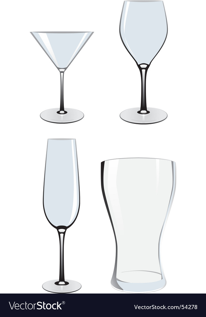 Empty glasses vector