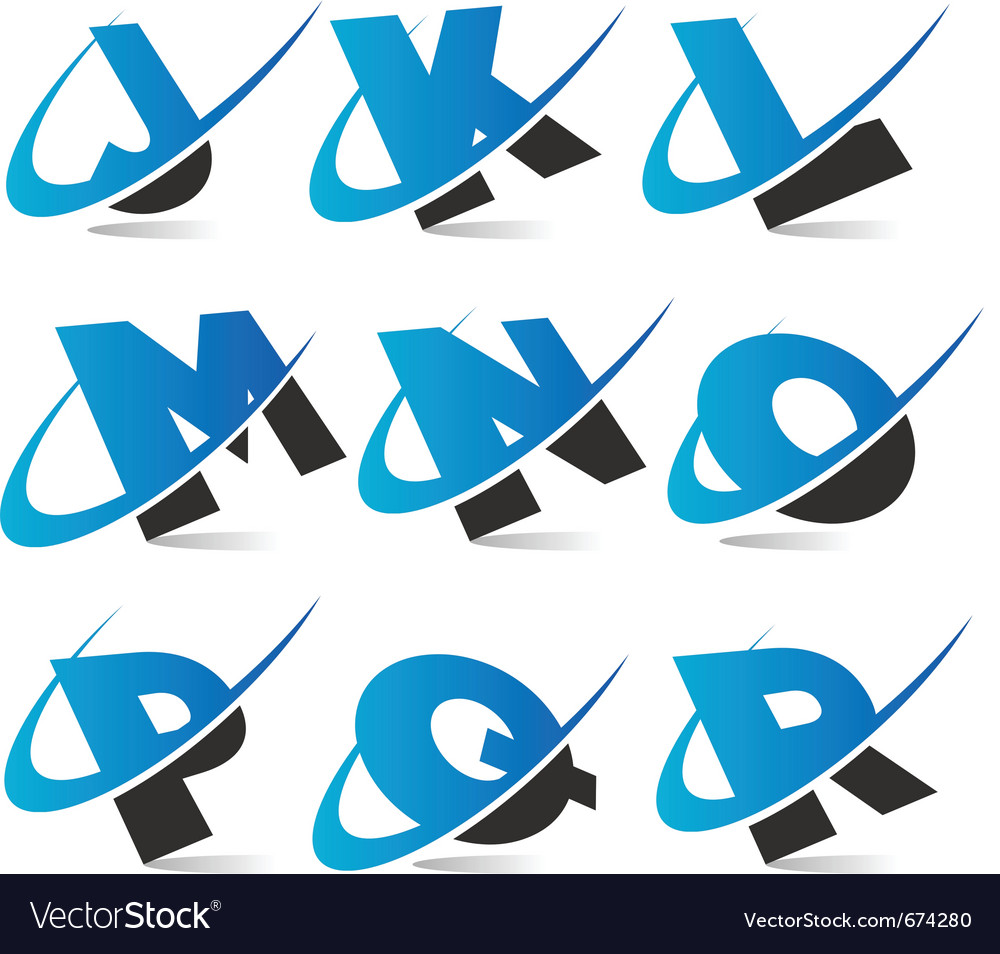 Swoosh alphabet logo set 2 vector