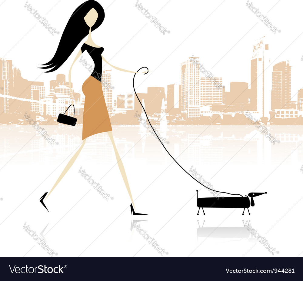 Girl with dog walking in the city vector
