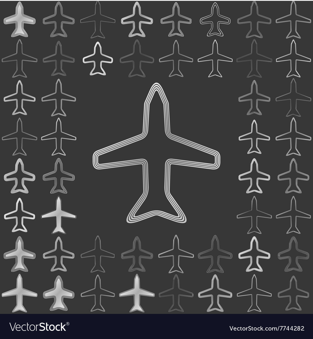 Silver line airplane icon design set