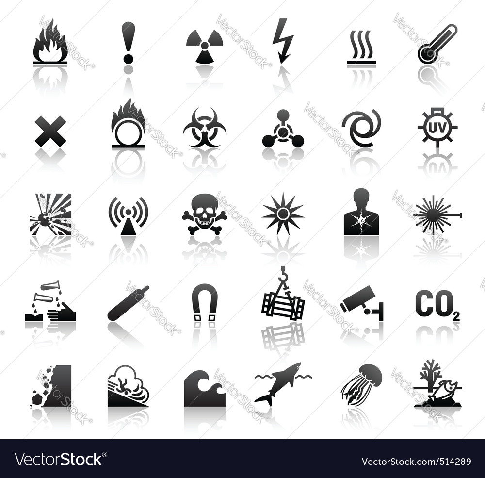 Black symbols danger icons vector