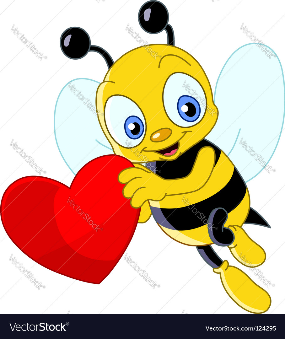 Cute bee valentines vector