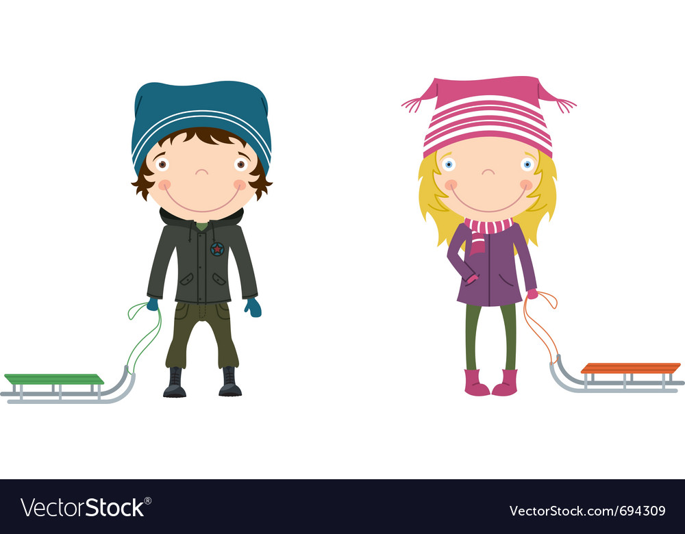 Cute happy children vector