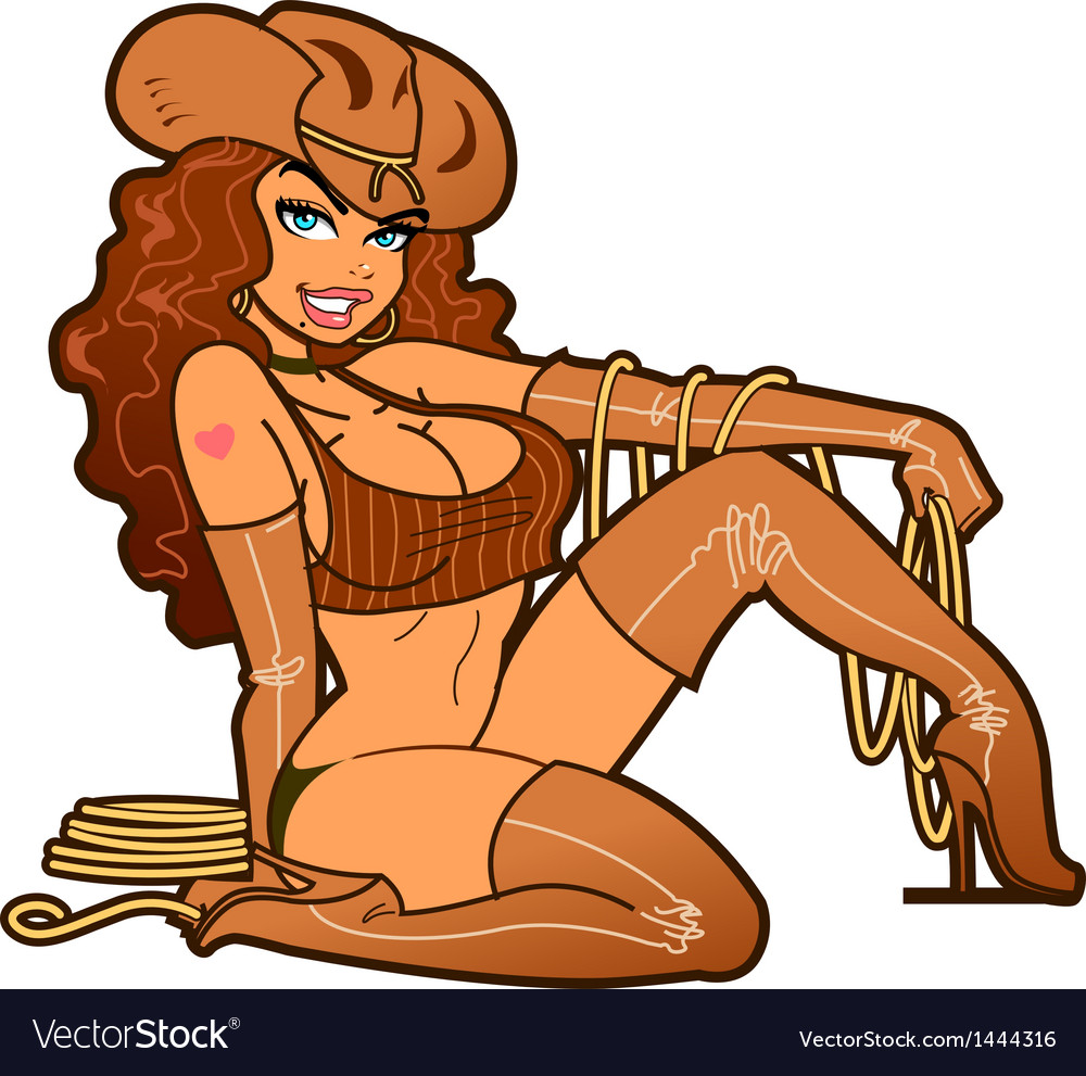 Sexy leather cowgirl vector