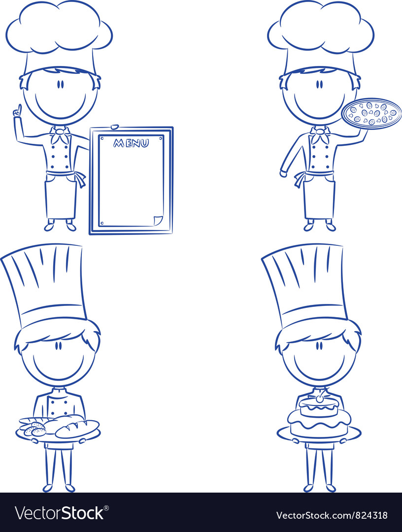 Cute chef men vector