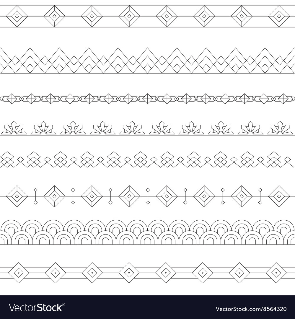 art deco borders style line and geometric linear vector art deco furniture lines