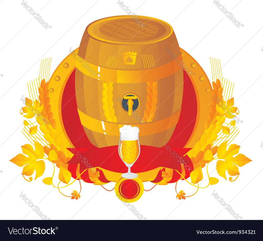 Beer a keg with a glass in a vignette vector