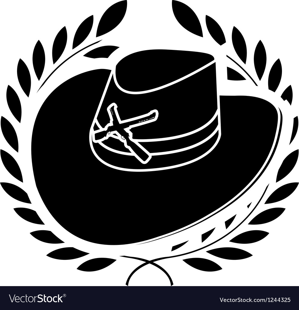 Cowboy hat and laurel wreath vector