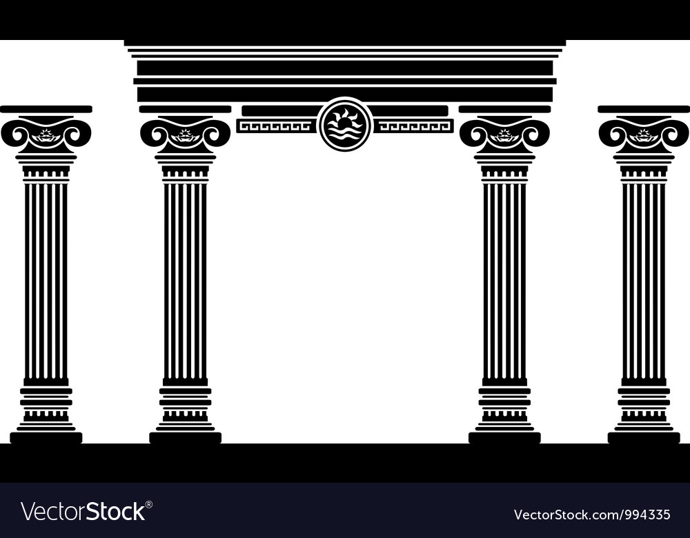 Fantasy arch and columns stencil sixth variant vector
