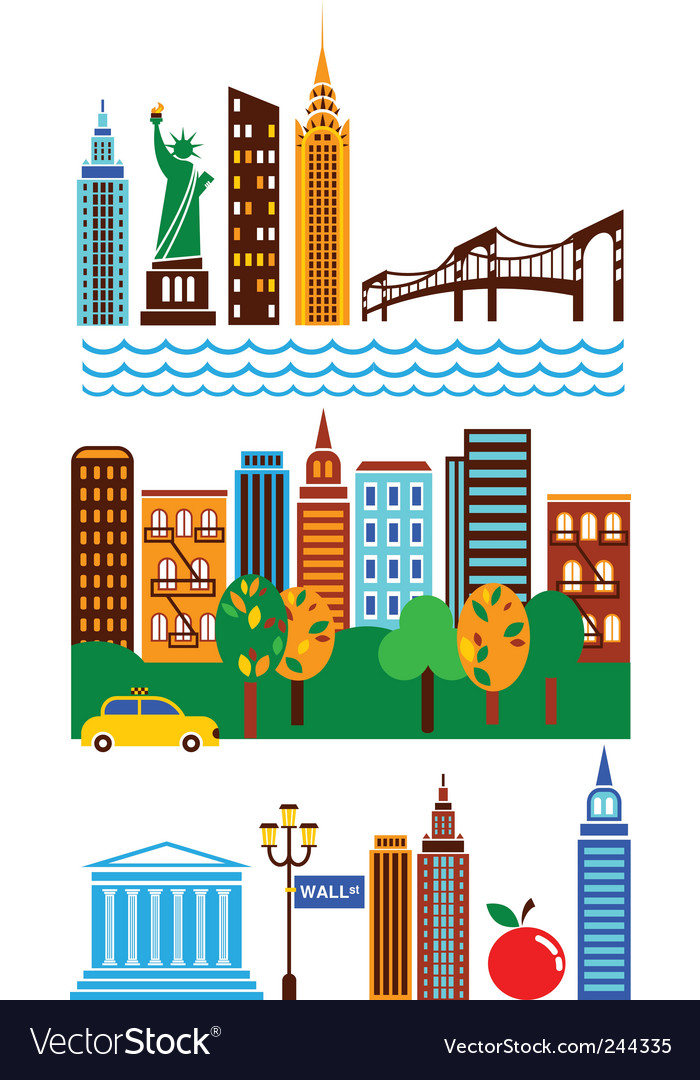 New york landmarks vector