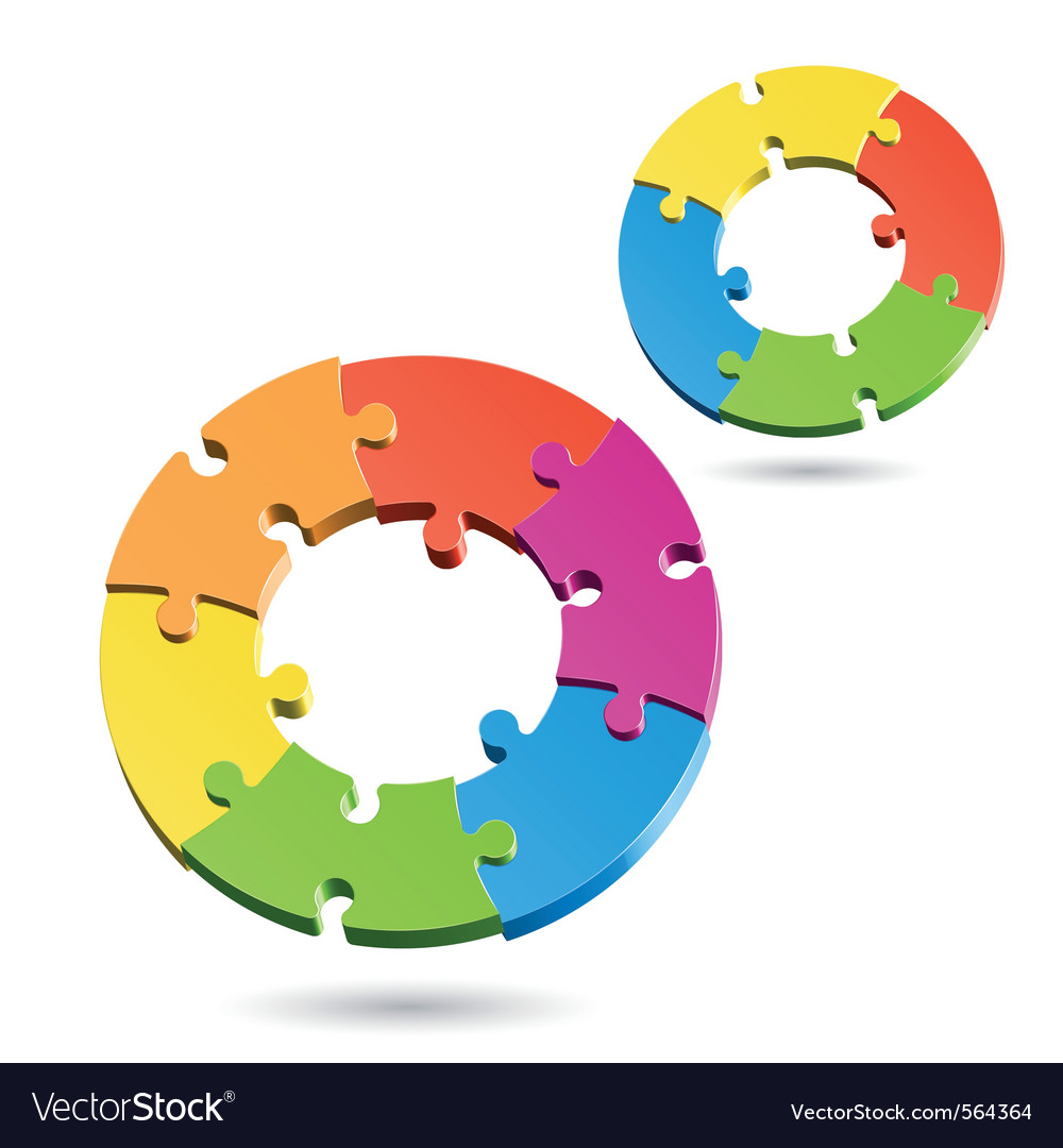 Jigsaw puzzle wheels vector