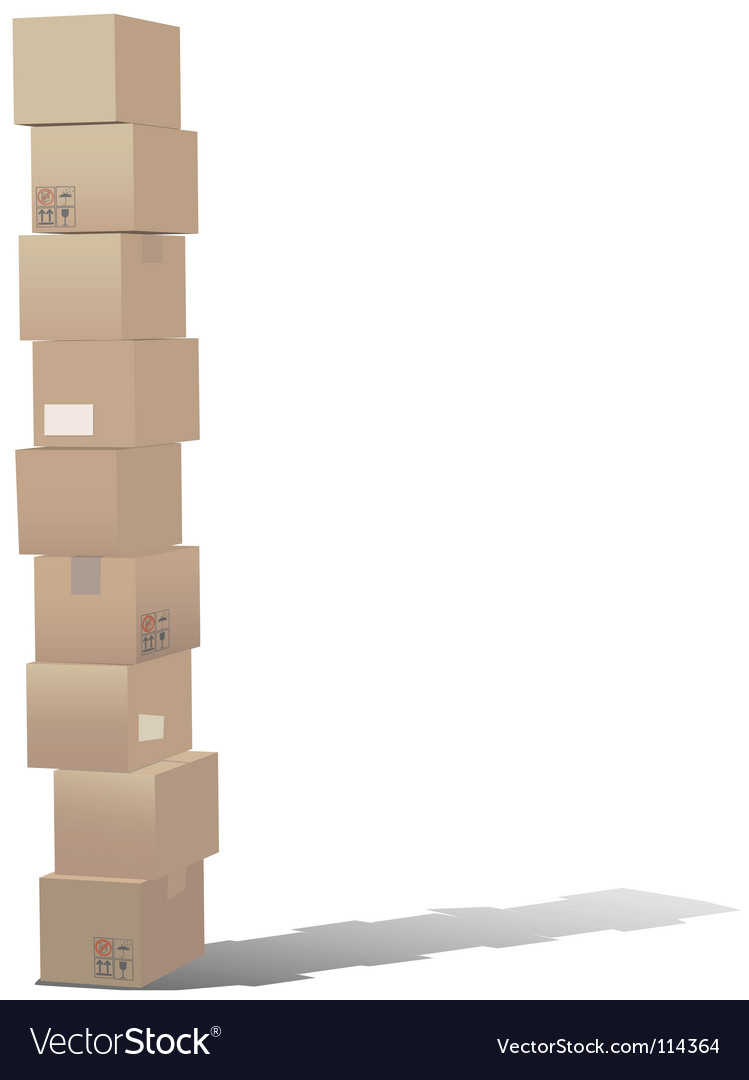 Stack of shipping carton boxes vector