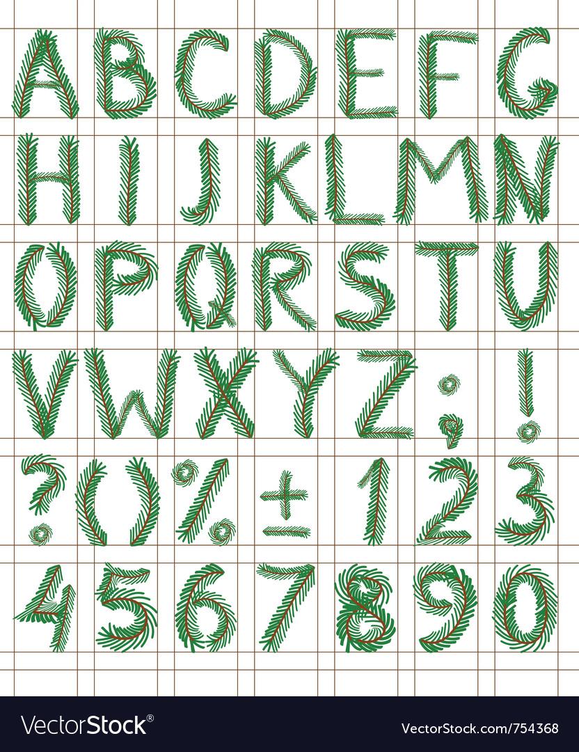 Fir tree green font vector by shoshina - Image #754368 - VectorStock