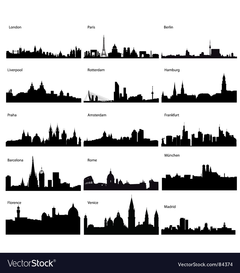 Silhouettes of european cities vector