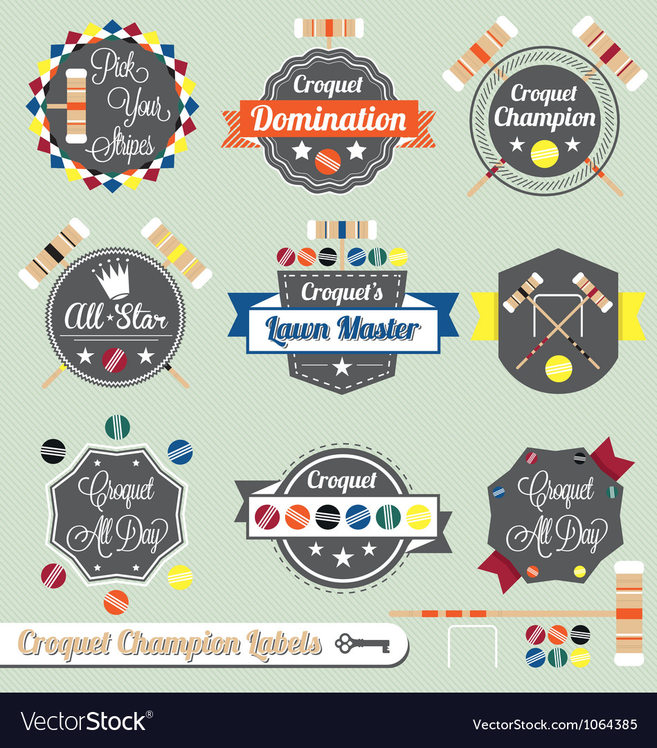 Croquet champion labels and icons vector