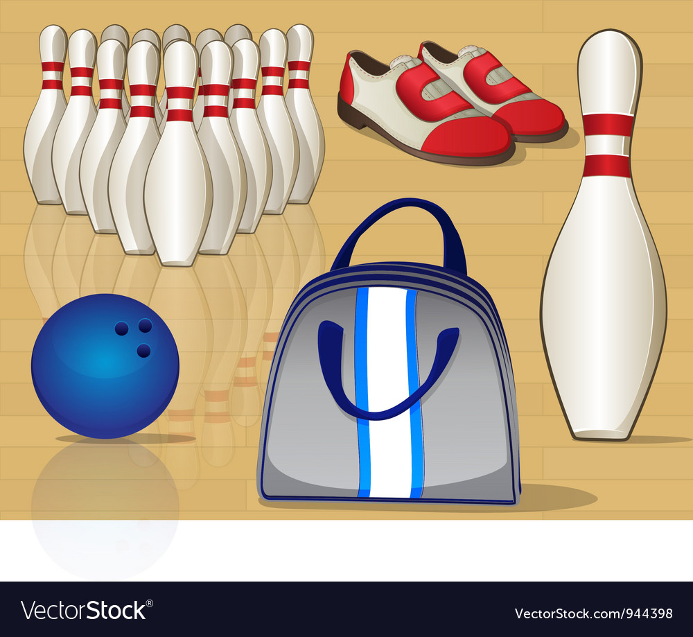 Bowling equipment icons vector