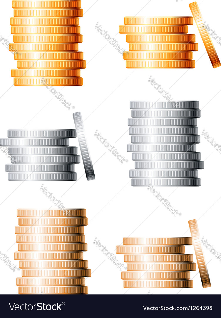 Bronze silver and gold stacks of coins vector