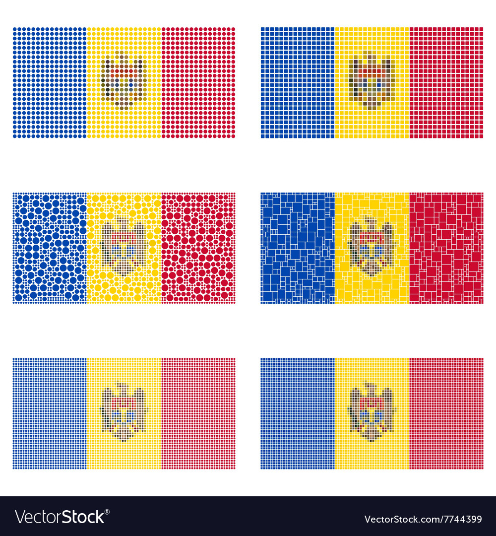 Mosaic moldova flag set